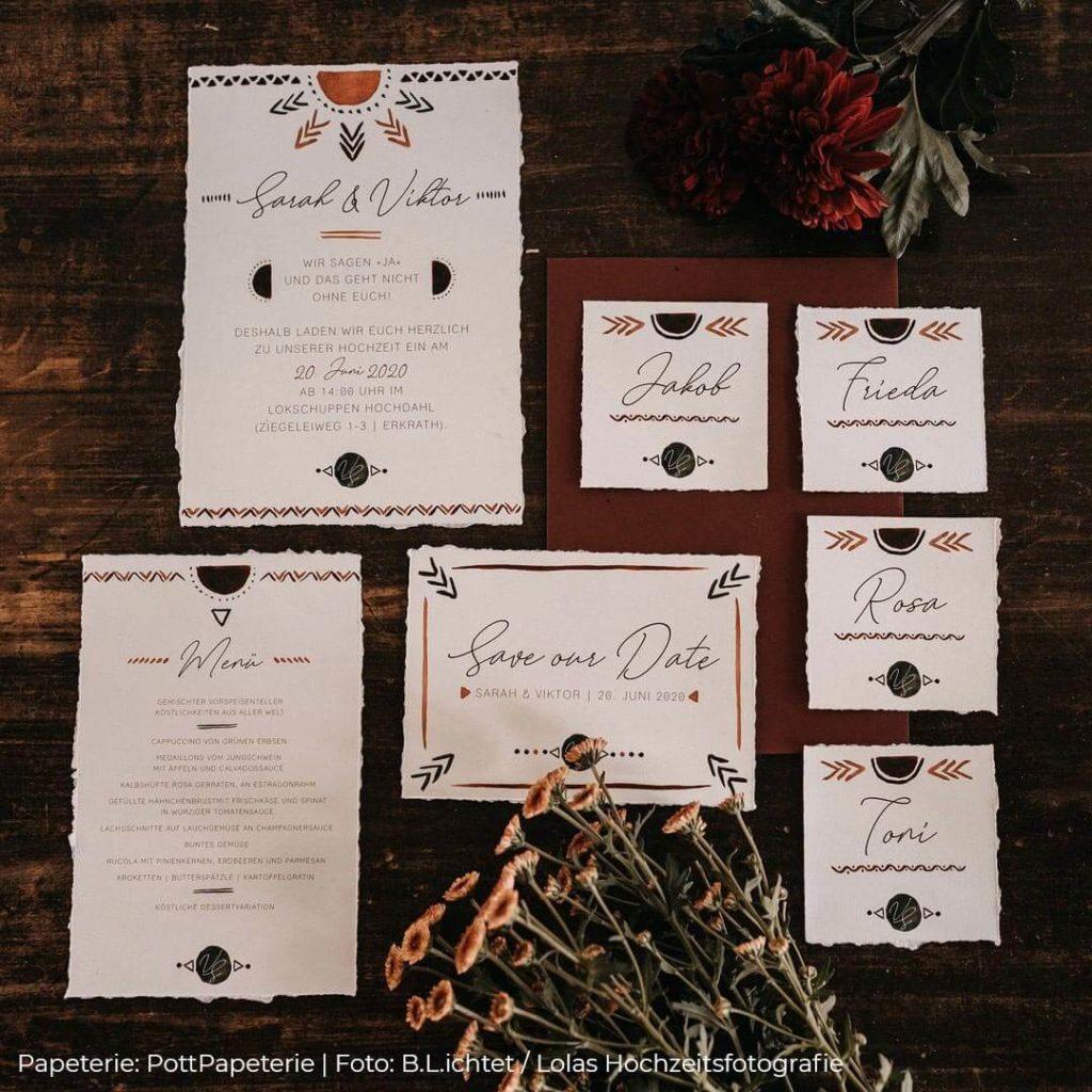 Nachhaltige Hochzeitspapeterie